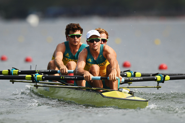 William Lockwood of Australia, Joshua Dunkley-Smith of Australia, Joshua Booth of Australia and Alexander Hill of Australia compete during the Men's Four Heat one (Photo: Matthias Hingst/Getty Images)