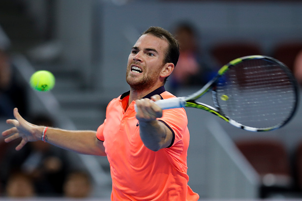 Mannarino plays a forehand shot (Photo: Zhong Zhi/Getty Images)