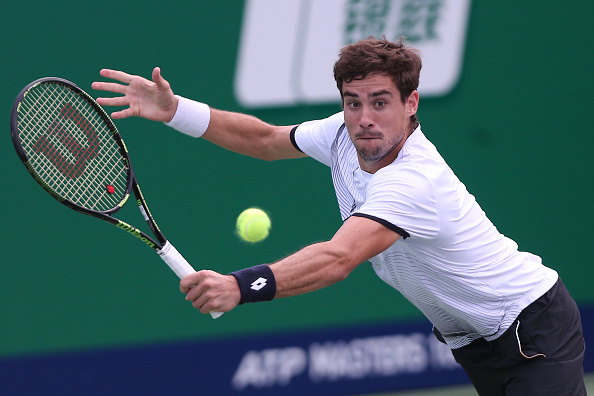 Guido Pella returning a shot to Jack Sock during the Shanghai Rolex Masters (Photo: Zhong Zhi/Getty Images)