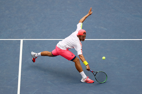 Lucas Pouille in action during his quarterfinal match at the US Open (Photo: Jean Gatuffe/Getty Images)