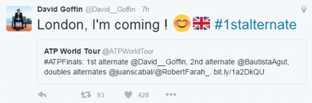 David Goffin takes to Twitter