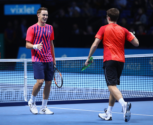 Henri Kontinen and John Peers celebrate winning their opening match in debut as a duo (Photo: Clive BRunskill/Getty Images)