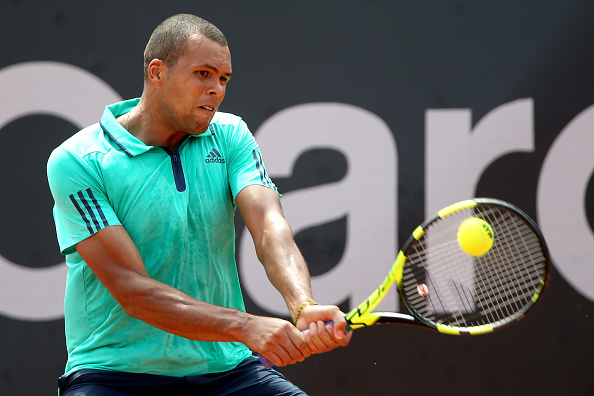 Jo-Wilfried Tssonga in action against Thiago Monteiro, a match he would go on to lose (Photo: Matthew Stockman/Getty Images)