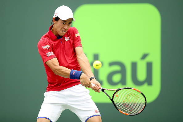 Kei Nishikori in action at the Miami Masters in March 2016, where he reached one of two finals (Photo: Matthew Stockman/Getty Images)