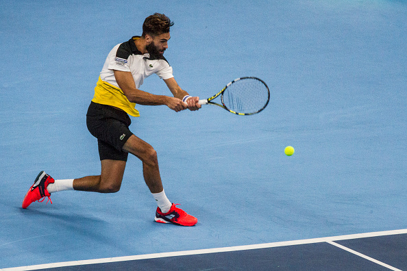 Benoit Paire striking the ball at the Antwerp Open (Photo: Pupo/Getty Images)
