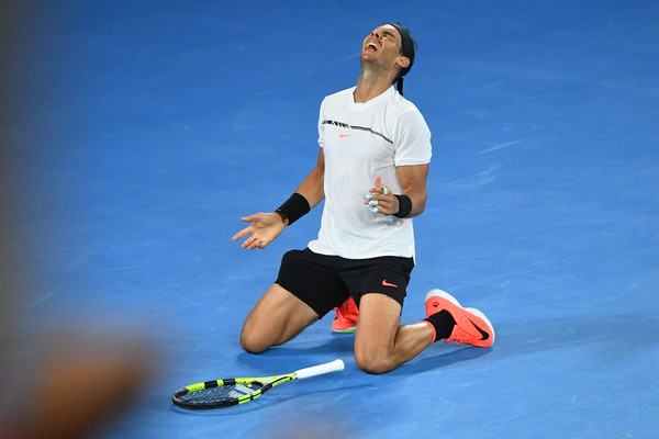 Nadal celebrates victory (Photo by Quinn Rooney/Getty Images)