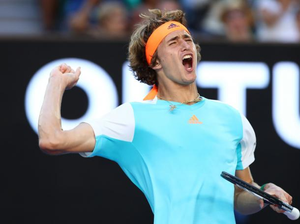 Zverev celebrates taking the third set (Photo by Cameron Spencer/Getty Images)