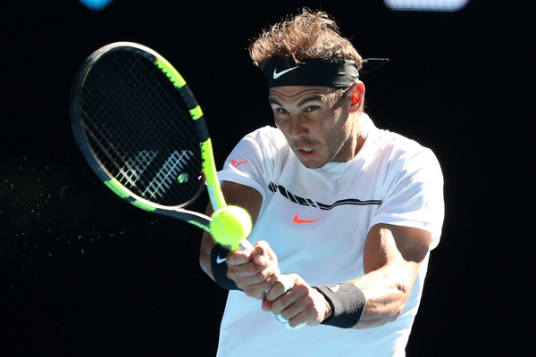Nadal strikes a backhand (Photo by Scott Barbour/Getty Images)