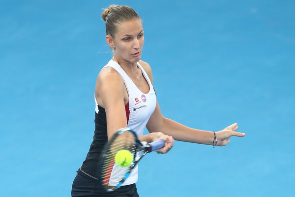 Pliskova hitting a forehand during the match | Photo: Chris Hyde/Getty Images AsiaPac
