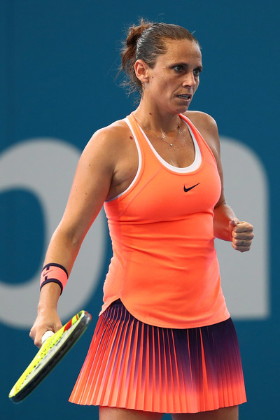 Roberta Vinci fist pumps during the match | Photo: Chris Hyde/Getty Images AsiaPac