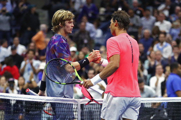 Rublev embraces Nadal, twelve years his elder, at the net (Photo: Clive Brunskill/Getty Images Europe)
