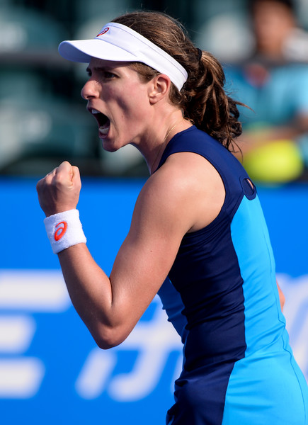 Konta fist pumps after winning a point | Photo: AFP/STR/Getty Images
