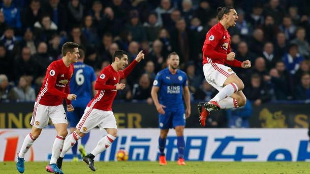 L'esultanza dei calciatori Red Devils dopo il gol del vantaggio. Fonte foto: premierleague.com