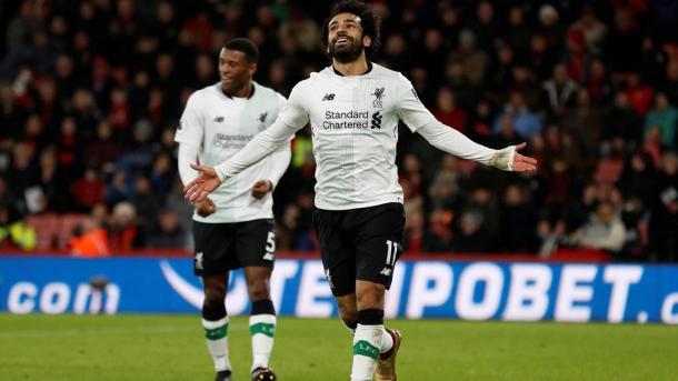 Salah festeja el tercer tanto de los Reds | Foto: PL.