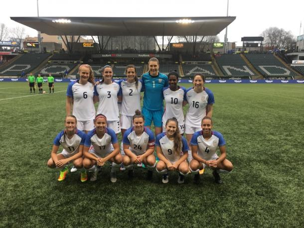 Jaelin Howell (6, standing far left) with the U23s prior to kickoff against the Houston Dash | Source: US Soccer
