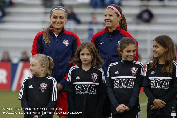 Defender, Shelina Zadorsky, and goalkeeper, Stephanie Labbe for the Spirit l Photo: Kelley Piper/ KPiperPhotos