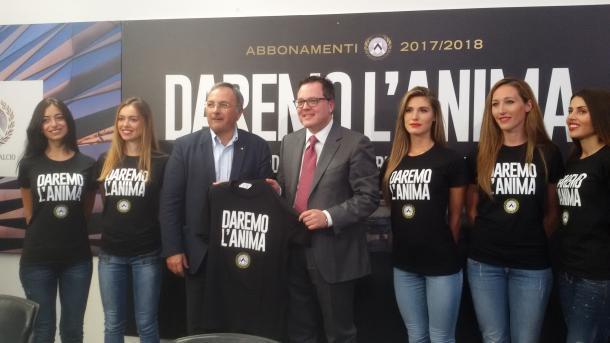 Soldati e Collavino presentano la campagna abbonamenti. Fonte: https://www.facebook.com/UdineseCalcio1896