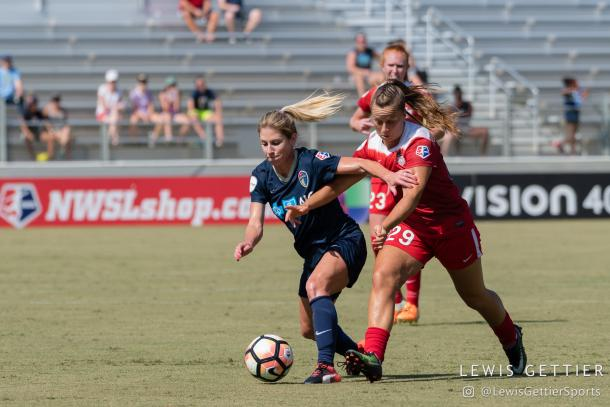 McCall Zerboni during her 100th regular season NWSL game (Photo source: Lewis Gettier