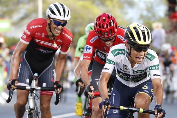 Chaves, Froome y Contador, los tres grandes favoritos que llegaron juntos a meta junto a Woods | Foto: PhotoGomezSport - LaVuelta