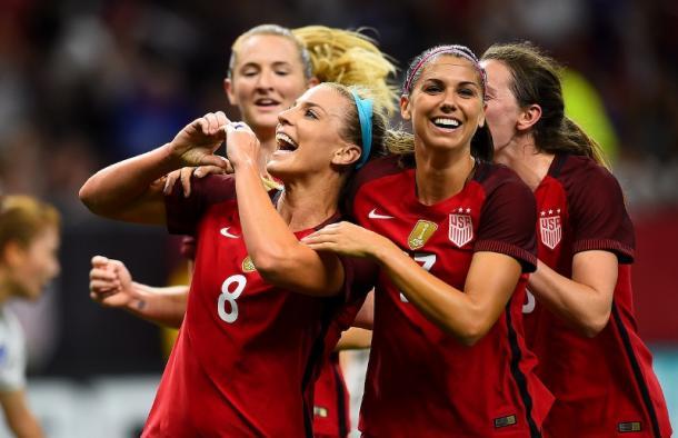 Julie Ertz and Alex Morgan celebrating (Photo Courtesy of U.S. Soccer