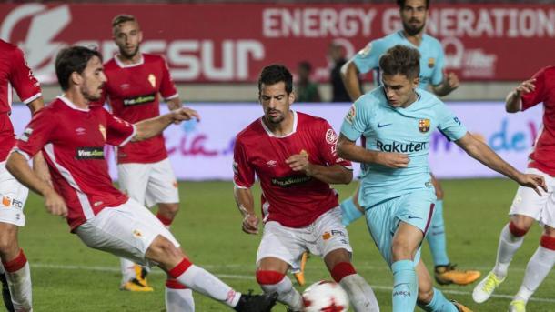 Lande del partido ante el Barcelona en Copa.  Foto. Real Murcia