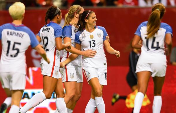 The USWNT celebrate Morgan's goal// Source: U.S. Soccer.com