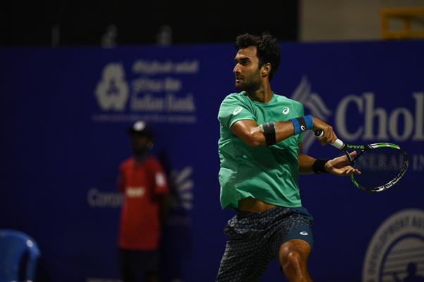 Yuki Bhambri in action against Ramkumar Ramanathan, a match he won in straight sets (Photo: @chennaiopen)
