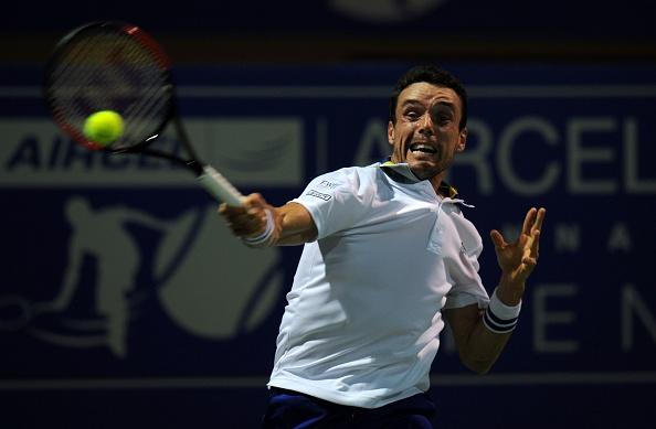 Roberto Bautista Agut hit a forehand (Photo: Arun Sankar/Getty Images)