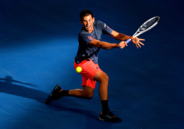 Dominic Thiem hits a backhand (Photo: Bradley Kanaris/Getty Images)