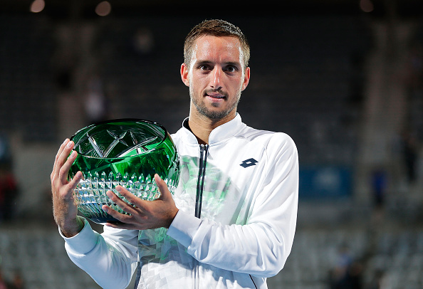Viktor Troicki with the Sydney trophy in 2016 (Photo: Mark Metcalfe/Getty Images)