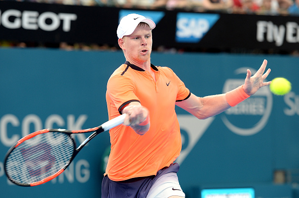 Kyle Edmund playing a forehand in his match against Stan Wawrinka in Brisbane (Photo: Bradley Kanaris/Getty Images)
