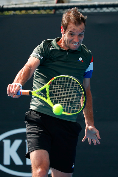 Richard Gasquet strikes a backhand (Photo: Darrian Traynor/Getty Images)