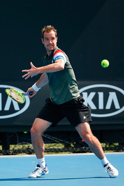 Richard Gasquet returns a shot to Blake Mott (Photo: Darrian Traynor/Getty Images)