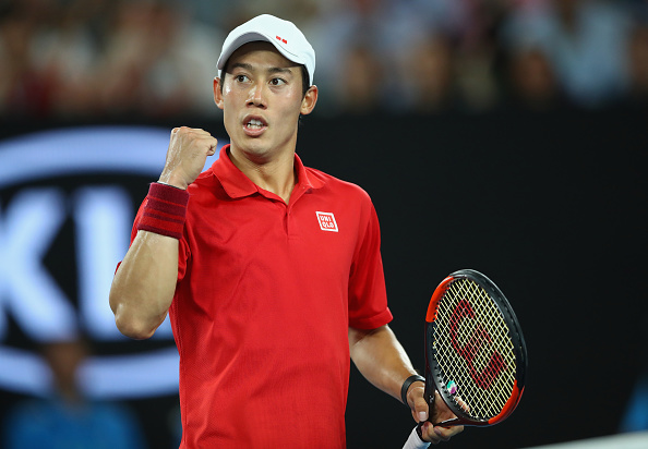 Kei Nishikori reacts to winning a point (Photo: Michael Dodge/Getty Images)