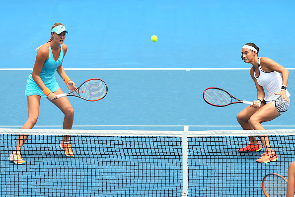 Caroline Garcia and Kristina Mladenovic compete in their third round match (Photo: Jack Thomas/Getty Images)