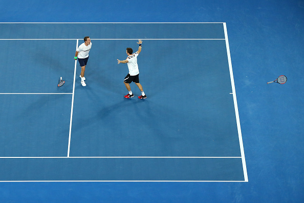Henri Kontinen and John Peers celebrating winning the Australian Open title (Photo: Cameron Spencer/Getty Images)