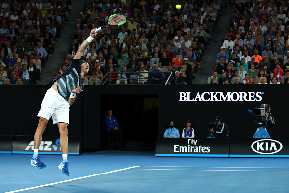 Milos Raonic during the Australian Open (Photo: Cameron Spencer/Getty Images)