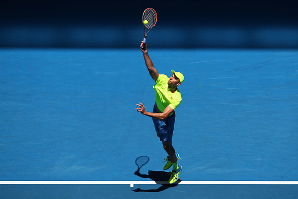 Ivo Karlovic hitting a serve (Photo: Cameron Spencer/Getty Images)