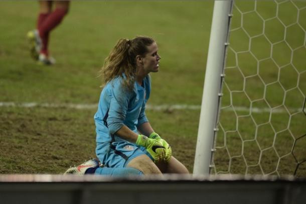 Alyssa Naeher looks on as France gets another goal (Photo: Zimbio/Brendan Smialowski)