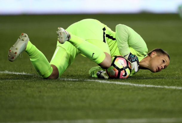 Ashlyn Harris stopping England from scoring (Photo: Elsa/Getty Images)