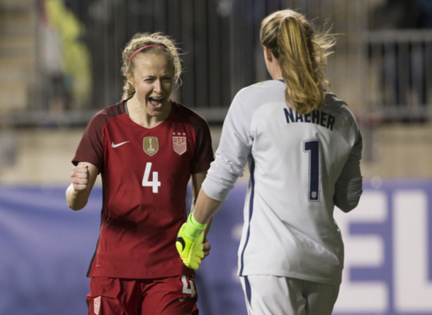 Becky Sauerbrunn and Alyssa Naeher celebrate win over Germany (Photo: Mitchell Leff/Getty Images)