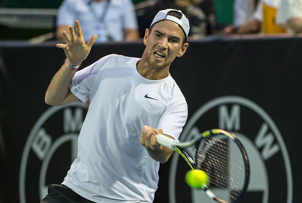 Adrian Mannarino hits a forehand shot (Photo: Dave Rowland/Getty Images)