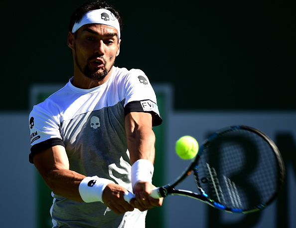 Fabio Fognini hits a backhand shot (Photo: Harry How/Getty Images)