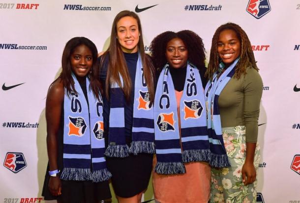 Catrina Atanda, ThrillsyMillsy, Kailen Sheridan and Miranda Freeman after being drafted by Sky Blue FC. (Source: Sky Blue's Twitter @SkyBlueFC)
