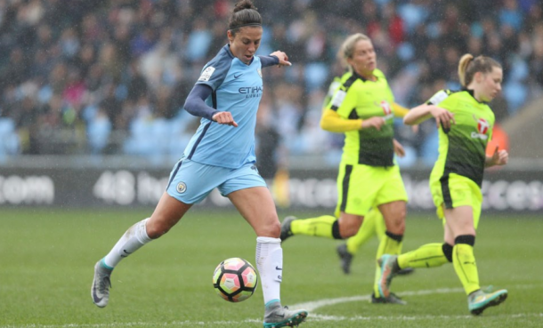 Carli Lloyd goes for goal. Source: Manchester City Women