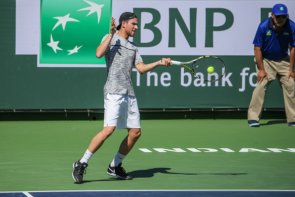 Adrian Mannarino in action at the BNP Paribas Open (Photo: George Walker/Getty Images)