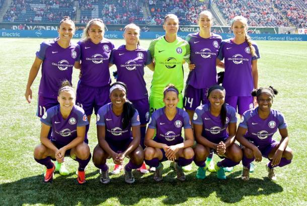 Orlando pride starting roster against Portland Thorns/ Photo: Orlando Pride's twitter @ORLPride
