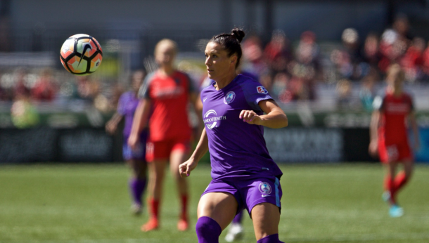 Ali Krieger first game for the Pride against the Thorns / Photo: Orlando Pride's Twitter @ORLPride
