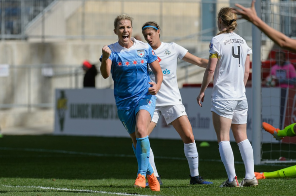 Julie Ertz celebrating her goal against FCKC/ Photo: Chicago Red Stars twitter @chicagoredstars