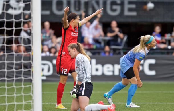 Christine Sinclair celebrates after scoring against Red Stars/ Photo: Portland Thorn's twitter @ThornsFC